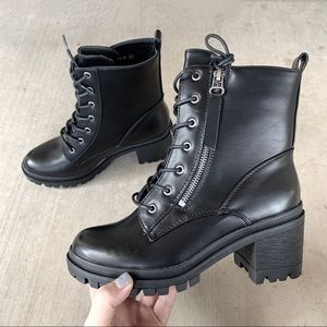 Black Combat Command Moto Zipper Tie Heeled Boots